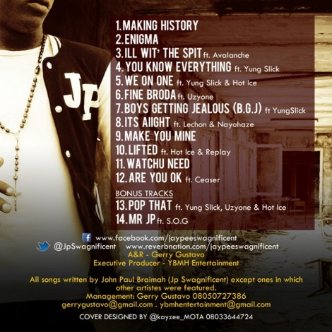 Jp Swagnificent Mixtape back cover | AceWorldTeam.com