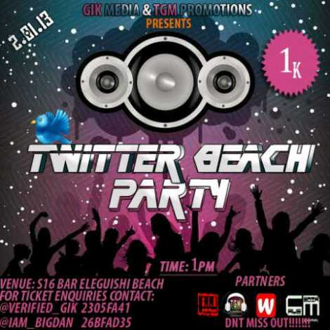 G.I.K Media and TGM Promotions presents TWITTER BEACH PARTY