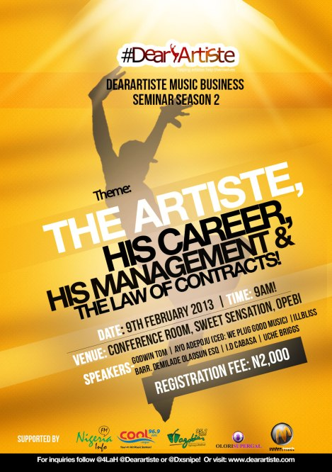 #DearArtiste™ MUSIC BUSINESS SEMINAR SEASON 2!